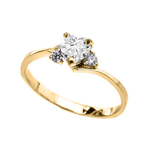 14k Yellow Gold Birthstone and C.Z Heart Promise Ring  (12 Birthstones)