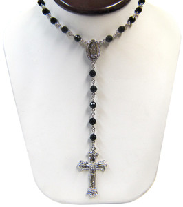 Sterling Silver Black Onyx Rosary Beaded Necklace 20 Inch