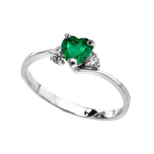 14K White Gold Birthstone and C.Z Heart Promise Ring  (12 Birthstones)