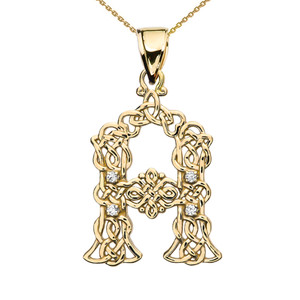 Diamond Celtic Knot Initial (A-Z) Pendant Necklace in Yellow Gold