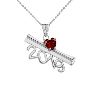 2019 Graduation Diploma Personalized Birthstone CZ Pendant Necklace In White Gold