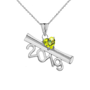 2019 Graduation Diploma Personalized Birthstone CZ Pendant Necklace In Sterling Silver