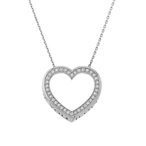 """Valentine's Diamond Heart """"I LOVE YOU"""" Necklace in Gold (Yellow/Rose/White) (0.62"""")"""