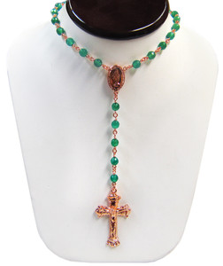 Sterling Silver Green Onyx Rose Gold Plated Rosary Beaded Necklace 20 Inch