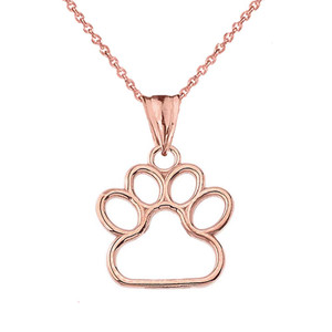 Dainty Dog Paw Print Pendant Necklace In Gold (Yellow/Rose/White) (0.66'')