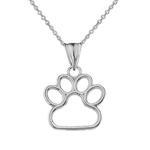 Dainty Dog Paw Print Pendant Necklace In Sterling Silver (0.66'')