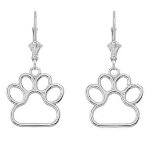 Dainty Dog Paw Print LeverBack Earring In 14K  Gold(Rose/White) (Medium)