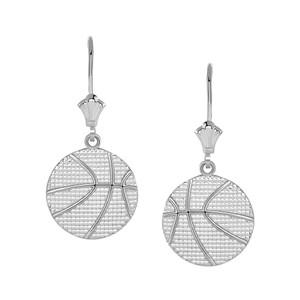 Basketball Leverback Earrings in Sterling Silver