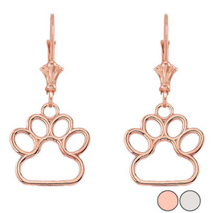 Dainty Dog Paw Print LeverBack Earring In 14K Gold (Rose/White) (Small)