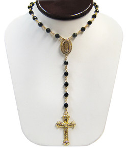 Sterling Silver Black Onyx Rosary Beaded Gold Plated Necklace 20 Inch