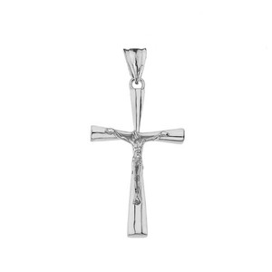 Crucifix Cross Pendant Necklace In Gold (Yellow/Rose/White) (Medium)