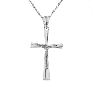 Crucifix Cross Pendant Necklace In Sterling Silver (Medium)