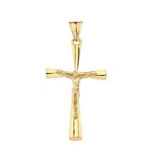 Crucifix Cross Pendant Necklace In Gold (Yellow/Rose/White) (Large)