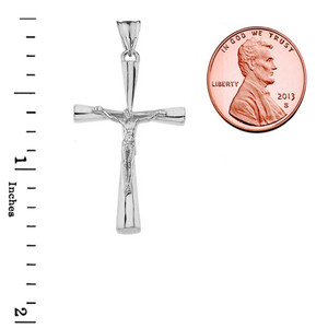 Crucifix Cross Pendant Necklace In Sterling Silver (Large)
