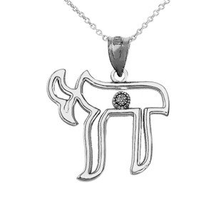 CZ Outline Jewish Chai Pendant Necklace in Sterling Silver
