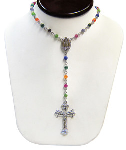 Sterling Silver Multi-Gemstone Rosary Beaded Necklace 18 Inch