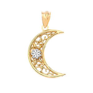 Crescent Pendant Necklace in Gold (Yellow/ Rose/White)
