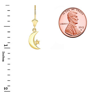Crescent Moon and Star Leverback Earrings in Yellow Gold