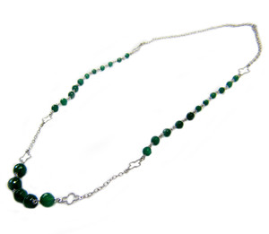 Gemstone Necklaces - Mystique Green Onyx Necklace in Sterling Silver 20 Inch