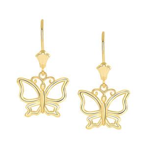 Butterfly Leverback Earrings in Yellow Gold