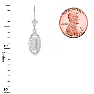 Textured Football Sports Leverback Earrings in 14K White Gold