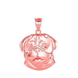 Pug Head Pendant Necklace in Gold (Yellow/ Rose/White)
