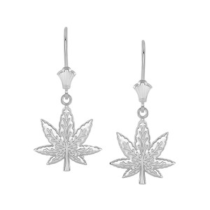 Marijuana Weed Leverback Earrings in 14K White Gold
