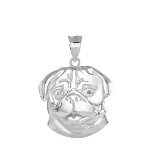 Pug Head Pendant Necklace in Gold Sterling Silver