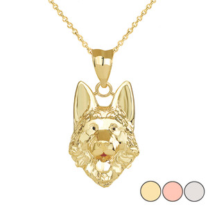 German Shepherd Head Pendant Necklace in Gold (Yellow/ Rose/White)