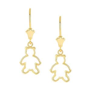 Dainty Teddy Bear Leverback Earrings in Yellow Gold