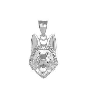 German Shepherd Head Pendant Necklace in Sterling Silver