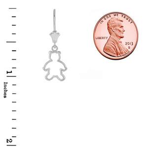 Dainty Teddy Bear Leverback Earrings in Sterling Silver