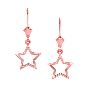 Polished Star Leverback Earrings in 14K Rose Gold