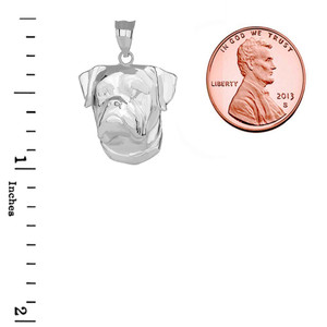 American Bulldog Head Pendant Necklace in Sterling Silver