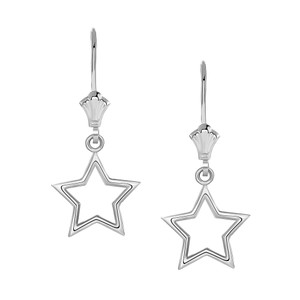 Polished Star Leverback Earrings in Sterling Silver