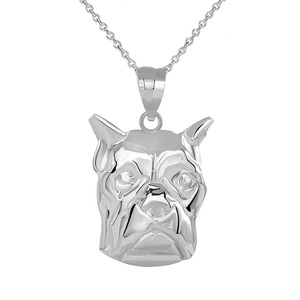 Boxer Dog Head Pendant Necklace in Sterling Silver