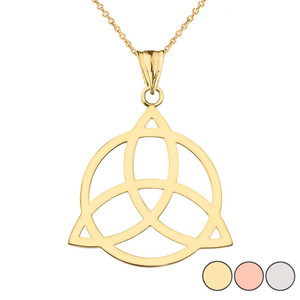 Trinity Knot Circle of Life Silhouette Pendant Necklace in Gold (Yellow/Rose/White)