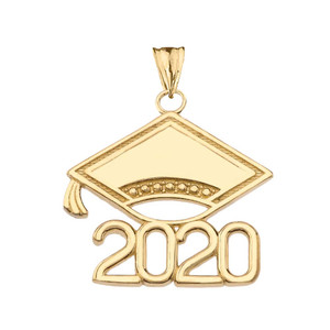 Class of 2020 Graduation Cap Pendant Necklace In Gold (Yellow/Rose/White)