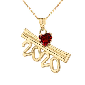 2020 Graduation Diploma Personalized Birthstone CZ Pendant Necklace In Yellow Gold