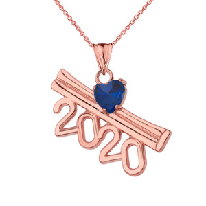 2020 Graduation Diploma Personalized Birthstone CZ Pendant Necklace In RoseGold