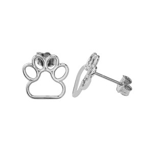 10K (Yellow/Rose/White) Gold Dainty Dog Paw Print Earrings
