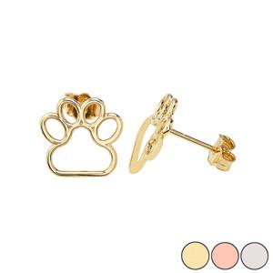 10K (Yellow/Rose/White) Gold Dainty Dog Paw Print Earrings