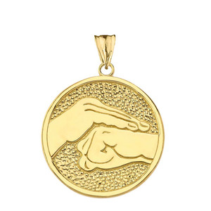 Bao Quan Martial Arts Hand Symbol Pendant Necklace In Gold (Yellow/Rose/White)