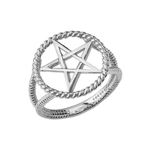 Elegant Open Pentagram Rope Ring in Sterling Silver