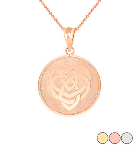 Celtic Knot Motherhood Disc Pendant Necklace in Gold (Yellow/ Rose/White)