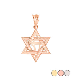 Jewish Star of David with Chai Pendant Necklace in Gold (Yellow/ Rose/White)