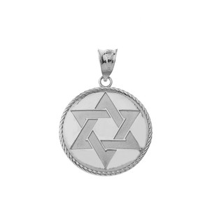 Star of David Medallion Pendant Necklace in Gold (Yellow/ Rose/White)
