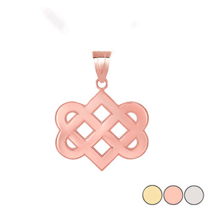 Celtic Love Knot Pendant Necklace in Gold (Yellow/ Rose/White)
