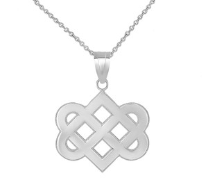 Celtic Love Knot Pendant Necklace in Sterling Silver