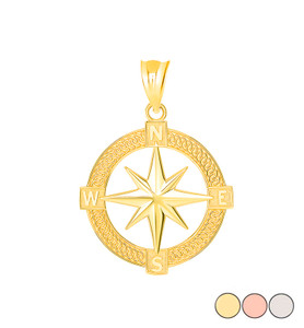 Mystical North Star Pendant Necklace in Gold (Yellow/ Rose/White)